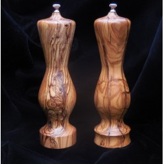 Amphora Salt & Pepper Mill set in Bethlehem Olivewood